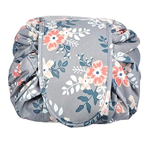 Ac.y.c Portable Drawstring Cosmetic Bag Large Lazy Fast Quick Pack Travel Makeup Pouch Toiletry Bag for Womens Girls (Light Grey Flowers)