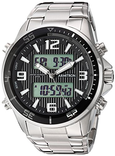 Armitron Men's 20/5182BKSV Analog-Digital Silver-Tone Bracelet Watch