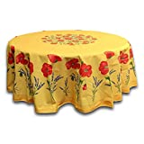 India Arts French Provencal Tablecloth Acrylic Coated 100% Cotton (71'' Round, Yellow Poppy)
