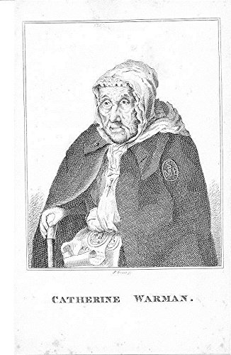 Catherine Warman 1820 fine original antique engraved folk art portrait - 1820 Original Antique