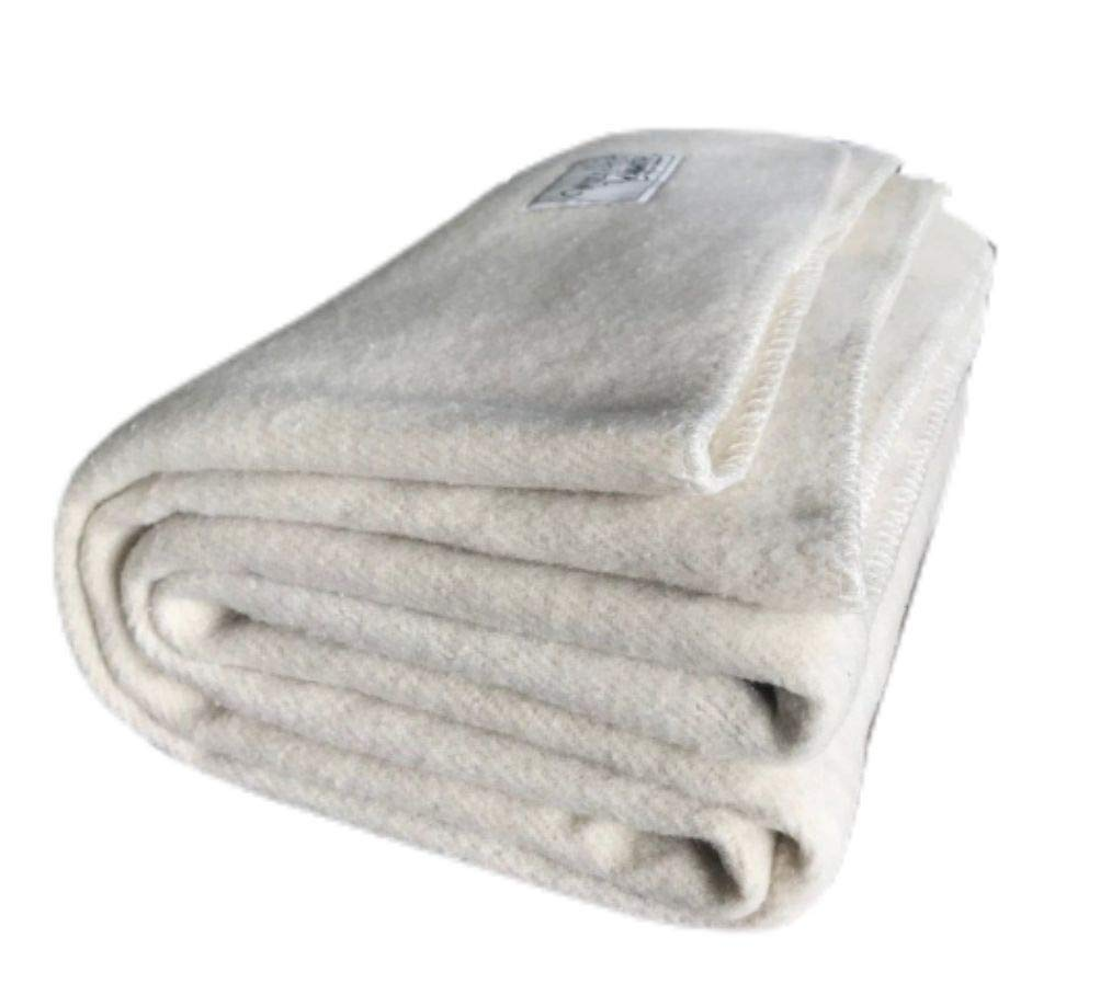 Woolly Mammoth Woolen Company Farmhouse Collection Thick Warm Wool Blanket. The Perfect complement to Your Country Home Decor. Use as an Oversized Throw or Additional Layer on The Bed | Antique Cream