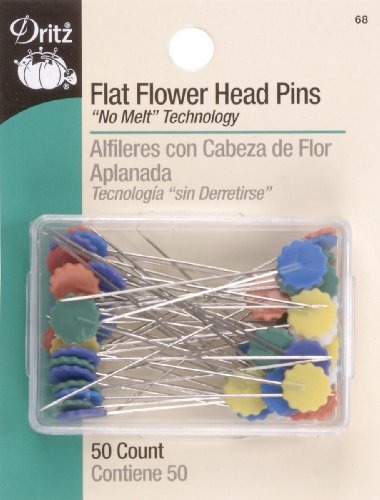 Dritz 68 Flat Head Pins, Flower, 2-Inch (50-Count)