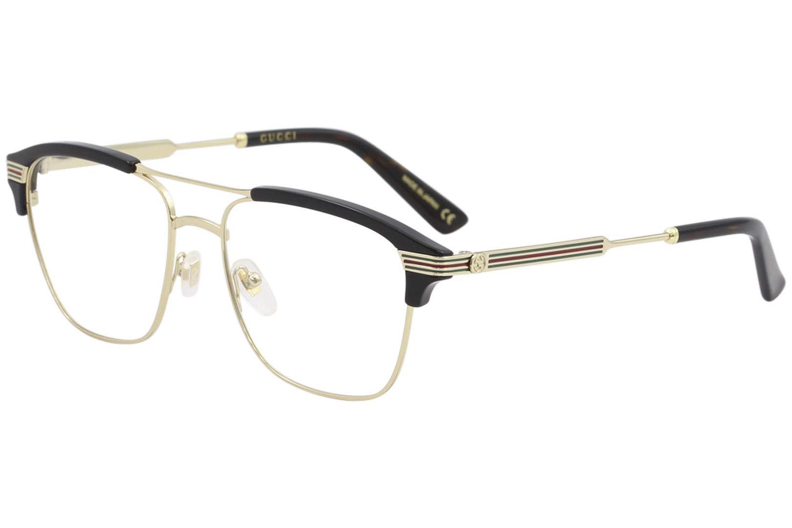 3909574e6a Gucci GG 0241O 002 Gold Black Plastic Rectangle Eyeglasses 54mm