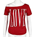 Love Letters Off Shoulder Tops for Women Short Sleeve Blouse (XL, Red)