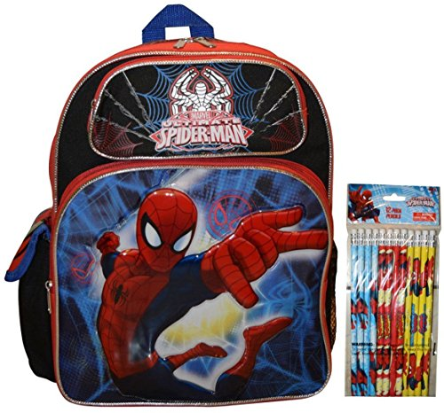 "Marvel Spiderman 14"" School Backpack With Bonus 12pk Pencils"