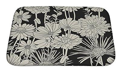 Gear New Black & White Floral Pattern Bath Rug Mat No Slip Microfiber Memory Foam