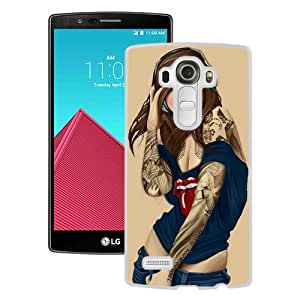 Personalized Hard Shell Illustrated Tattooed Sexy Rolling Stones White Durable LG G4 Protective Skin Cover Case