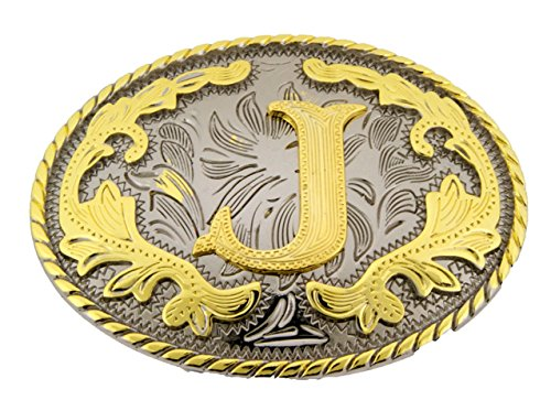 Initial Letters Western Style Cowboy Rodeo Gold Oval Belt Buckles (Letter J)