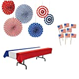 Patriotic Memorial Day and 4th of July Patriotic Supplies and Decorating Kit of 3 items - Table Cover (1), Stars & Stripes Hanging Fan Decoration (6 Pcs), and US Flag Picks (50pcs)