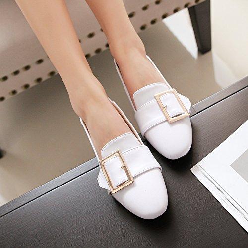 Tonen Glans Dames Metalen Decoraties Dikke Hak Slip Loafers Schoenen Wit