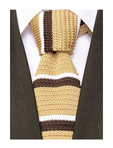 Men Woven Champagne Brown White Narrow Knit Ties Gift Designed Neckties for Brother Son Grandson