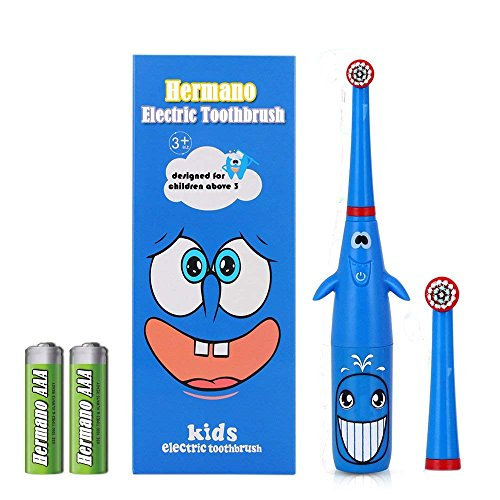 Hermano Kids Electric Toothbrush, Battery Powered Electronic Sonic Toothbrush with 2 Replacement Heads for Children, Blue by Hermano (Image #8)