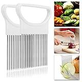 Onion Slicer Holder Meat Tenderizer   Tomato Vegetables Slicer Cutting Aid Holder Guide Slicing Cutter kitchen Safe Fork(2 Pack) (White+White)