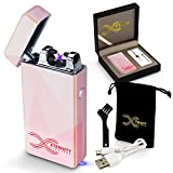 ETERNITY Lighters™: Flameless Electronic Rechargeable Windproof Premium Cigarette or Candle Lighter with Dual Arc, USB Cord, Brush, and Bag in Gift Box (Pink Abstract)