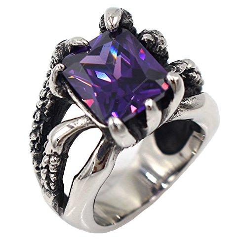 Estate Retro Vintage Jewelry (LILILEO Jewelry Stainless Steel Men's Rings Retro Dragon Claws Inlaid Purple Zircon Ring)