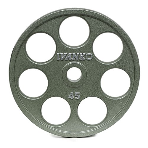 Photo Ivanko E-Z Lift Cast Iron Olympic Plates with Holes - 45 lb. pair for use with Olympic Weightlifting Bars.