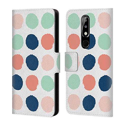 Addison Leather - Official Charlotte Winter Addison Dots Leather Book Wallet Case Cover Compatible for Nokia 5.1 Plus / X5