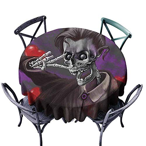 - Wpckgki Round Tablecloth Skull Romantic Skeleton Handsome Corpse Groom with Tuxedo Hearts in The Backdrop Print Black and Red Soft and Smooth Surface D39