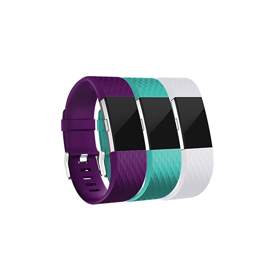 Wepro Replacement Bands for Fitbit Charge 2, 3 Pack for Fitbit Charge2 Wristbands, Large, Small