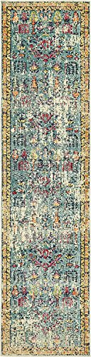 Unique Loom Monterey Collection Vintage Bohemian Tribal Distressed Blue Runner Rug (3' x 10') - This rug is perfect for those high traffic areas in your home. It's also kid and pet friendly! Cleaning Instructions:  As long as it's a short-pile, indoor rug, we recommend spot cleaning with resolve, and regular vacuuming is recommended. You can use a carpet cleaner (shampooer) but it should be dried immediately and evenly. Colors found in this rug include: Blue, Beige, Gold, Navy Blue, Orange, Purple, Red. The primary color is Blue. - runner-rugs, entryway-furniture-decor, entryway-laundry-room - 51ppM6K3%2BoL -