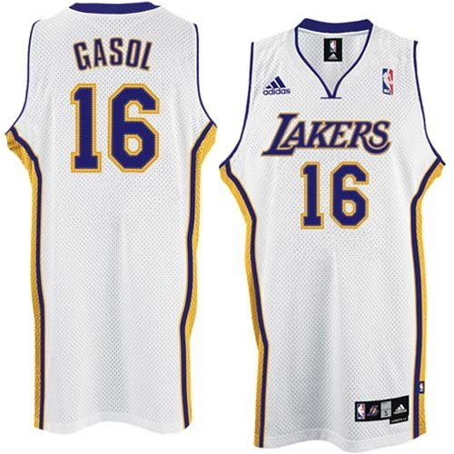 Pau Gasol Los Angeles Lakers Adult Stitched Swingman White Jersey 3XL