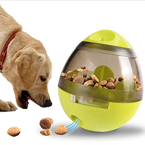 10 Rough Bowl (UBEI Pet Tumbler Interactive Pet Dog Shaking Food Leak Ball Funny Puzzle Dog Self Feeding Toy Puppy Play Bowl Feeder Increases IQ And MENTAL Stimulation (Green))