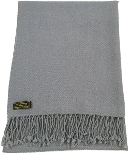 Light Grey High Grade 100% Cashmere Shawl Scarf Wrap Hand Made from Nepal NEW by CJ Apparel
