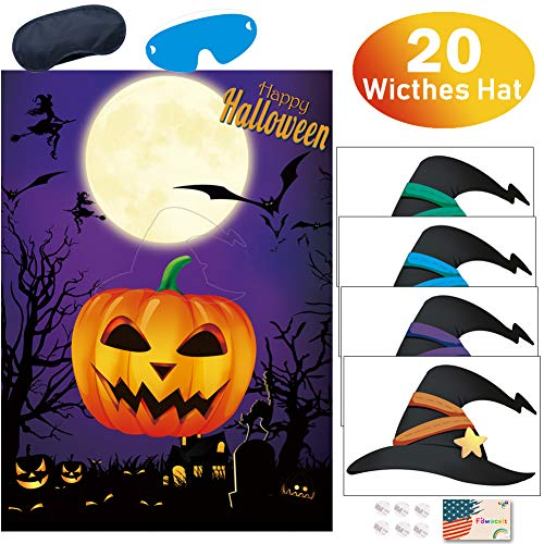 Birthday On Halloween (Kids Halloween Party Games, Pin the Witches Hat on the Pumpkin Game for Halloween Party Favors Birthday Party Suppiles Halloween)