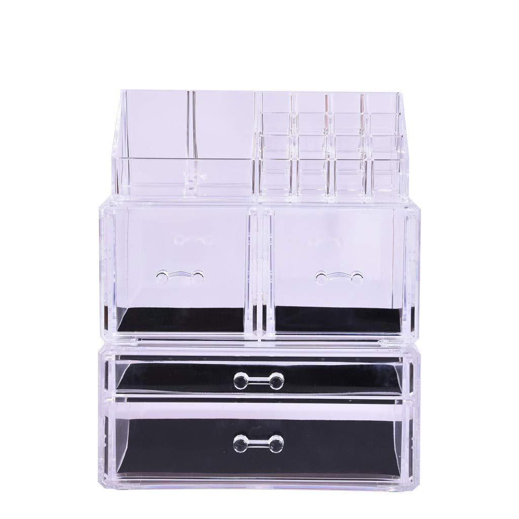 Basde Makeup Storage Box, Makeup Organizer 3 Pieces Acrylic Cosmetic Storage Drawers and Jewelry Storage Box