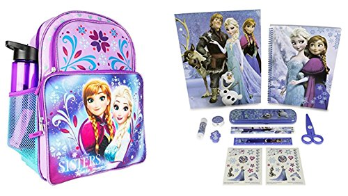 Disney Frozen Backpack with Water Bottle and 11 pc. Stationary Set by Mad Fun Toys