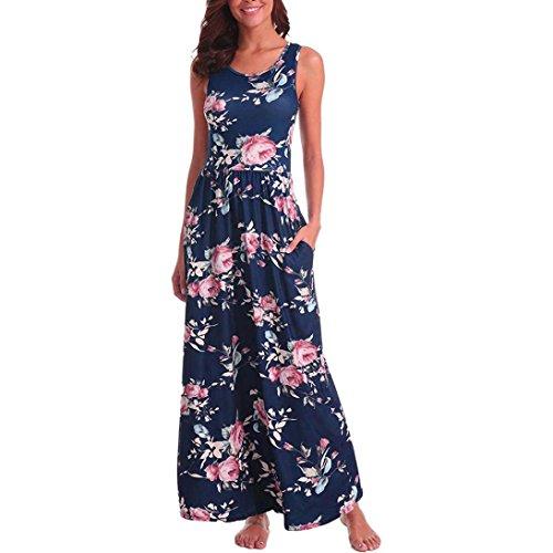 Damen Sommerkleid Kleider Maxikleid Streifen Schulterfrei Rundhals High  Waist Lang Kleid Partykleid Round Neck Striped Printed 2fcdf5fa42