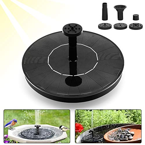 - SWVIIT Mini Solar Fountain Water Pump for Bird Bath, 1.4W Standing Solar Powered Water Pump Solar Panel Kit with 4 Different Nozzles for Pond, Pool, Garden and Fish Tank