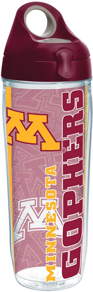 Tervis 1219847 Minnesota Golden Gophers College Pride Tumbler with Wrap and Maroon Lid 24oz Water Bottle, Clear