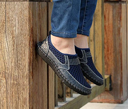 Bomba Ponerse Mocasín Hilado de red Malla Sandalias Casual Zapatos Hombres Respirable Hueco Patrón de cocodrilo Pedal Zapatos Zapatilla Conducción Zapatos Zapatos perezosos Tamaño de la UE 38-46 Blue