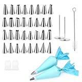 Cake Decorating Kit, InLife 38pcs Cake Decorating Supplies with 32 Icing Tips, 2 Silicone Pastry Bags, 2 Flower Nails, 2 Reusable Plastic Couplers Baking Supplies Frosting Tools Set for Cake Cupcakes Cookies