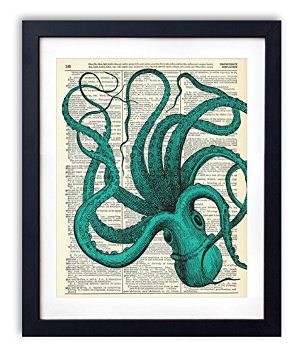 Blue Octopus Upcycled Vintage Dictionary Art Print 8×10