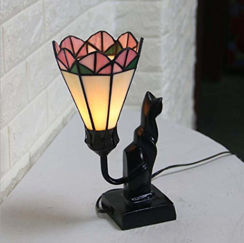 Tiffany Style Table Lamp, Home Decor Glass Table Lamp/Night Light, Bedroom Bedside Living Room Creative LED Desk Lamp (Color : (Stained Glass Night Light Patterns)