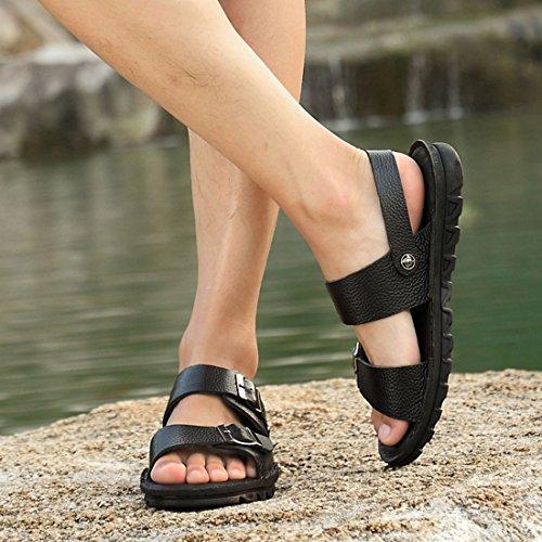 Jiyaru Heren Sport Sandalen Wandelen Wandelen Casual Atletische Lederen Schoenen Zwart