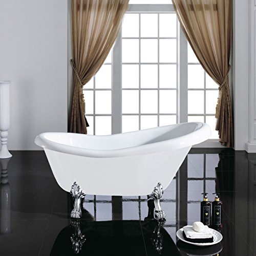 MAYKKE Gibson 67 Inches Traditional Oval Acrylic Clawfoot Tub, White Slipper Bathtub with Feet in Chrome Finish, 15-3/4 Inches Water Depth, 44 Gallons Water Capacity, XDA1413002 (Acrylic Clawfoot Tub compare prices)