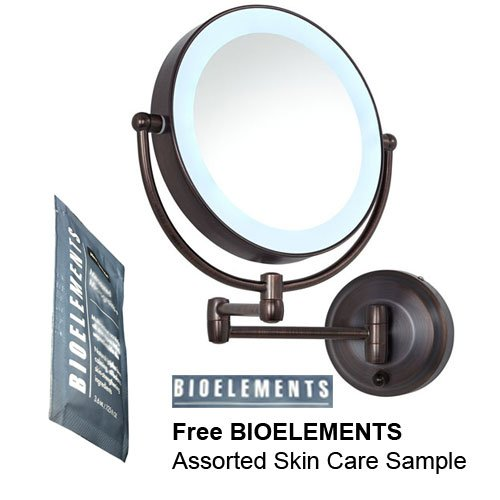 Zadro Oil-Rubbed Bronze LEDW810 LED Lighted Wall Mounted Makeup Mirror with Free Bioelements Skin Care Sample by Zadro
