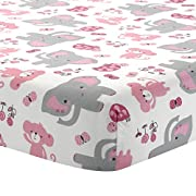 Bedtime Originals Twinkle Toes Elephant Fitted Crib Sheet, Pink/White