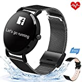 KeeGan Fitness Tracker Activity Tracker with Heart Rate Monitor and Calorie Counter Pedometer Bracelet IP67 Waterproof GPS Tracker Smart Watch for Men Women (Black-Steel)