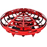 Dirance Induction Sensor Control Hover Quadcopter Drone Kids Toy, Headless Mode & Attitude Hold & Full Cover 3D Rolling (Red)