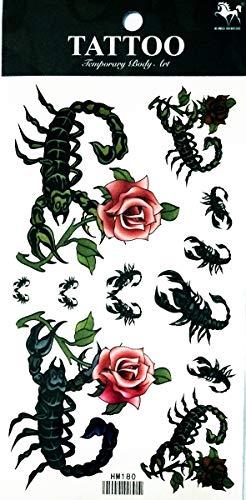 NipitShop 1 Sheet Sexy Colorful Scorpion Rose Flowers Waterproof Temporary Tattoo Sticker Water Transfer