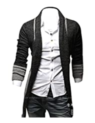 Kisstyle Mens Casual Splicing Design Long Sleeve Soft Warm Cardigan