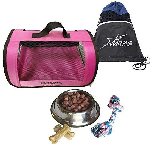 (Perfect Petzzz Pink Tote for Plush Breathing Pets with Dog Food, Treats, Chew Toy and Myriads Drawstring Bag)