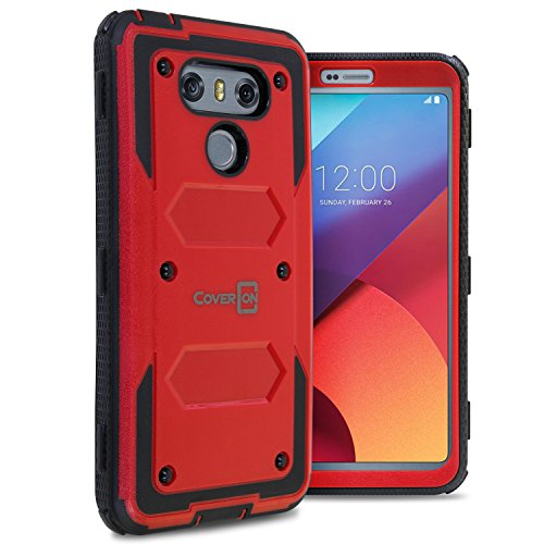 CoverON Tank Series for LG G6 Protective Case, LG G6 Plus Protective Case, Heavy Duty Hard Phone Cover with Dust Covers and Faceplate - Red