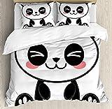 Our Wings Anime Comforter Set,Cute Cartoon Smiling Panda Fun Animal Theme Japanese Manga Print Bedding Duvet Cover Sets Boys Girls Bedroom,Zipper Closure,4 Piece,Black White Gray Twin Size