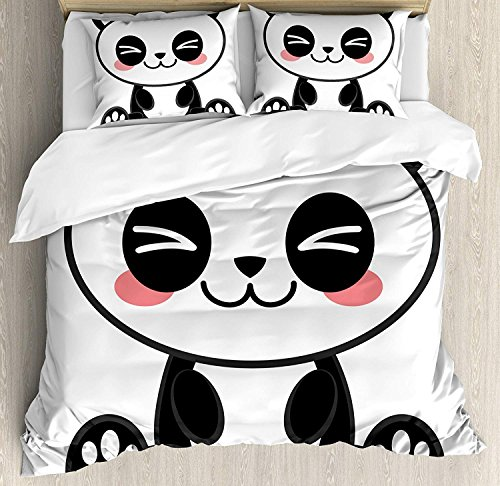 Anime Bedding Duvet Cover Set, Cute Cartoon Smiling Panda Fun Animal Theme Japanese Manga Kids Teen Art Print, Decorative 3 Piece Bedding Set with 2 Pillow Shams, Black White Gray -Queen