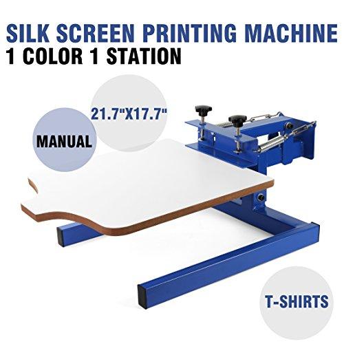VEVOR Screen Printing Machine 1 Color 1 Station Silk Screen Printing Machine 17.7x21.7Inch Screen Printing Press for T-shirt DIY Printing Removable Pallet (1 Color 1 Station) by VEVOR